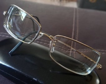 e682254574 Vintage authentic Givenchy eyeglasses gold tone frame designer eyeglasses  vintage eyewear metal frames made in Italy rectangular eyewear