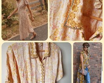 1bb9bdfae77e Vintage 90s April Cornell dress romantic prairie boho dress floral midi  dress spring floral dress womens fashion 80s 90s style