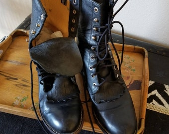 868d5f5be7e82 Vintage Justin lace up kiltie boots black leather cowboy cowgirl boots  grunge combat lace up boots size 6 womens fashion