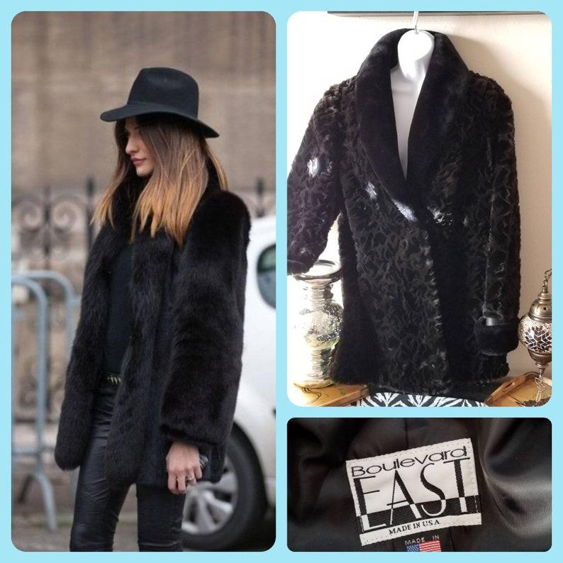 4507b8307a Vintage 90s faux fur jacket Boulevard East plush teddy coat | Etsy