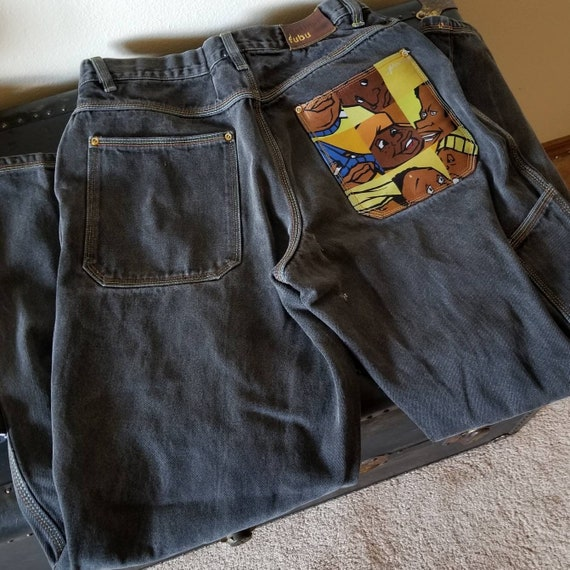 Vintage Fubu Platinum baggy distressed jeans Fat A