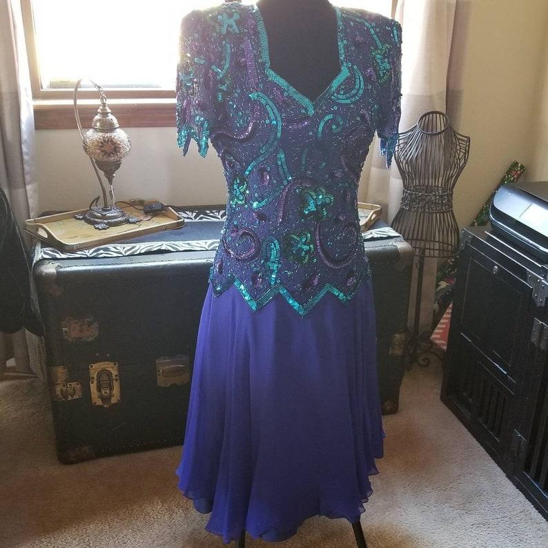 89a85d73dec Vintage 80s beaded sequined silk cocktail dress royal blue