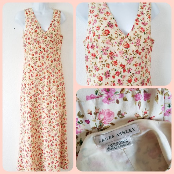 Vintage Laura Ashley floral slip dress maxi lined