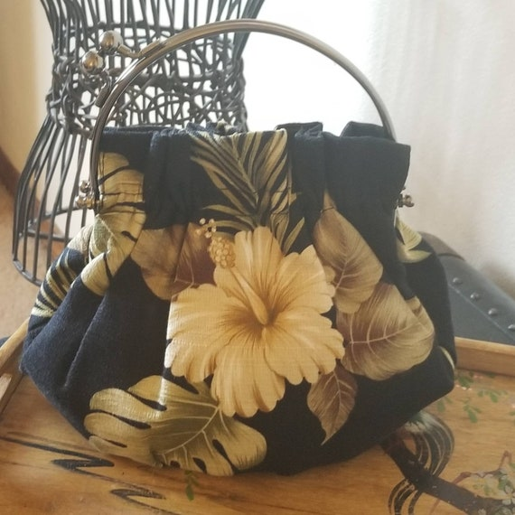 Tropical barkcloth handbag clutch vintage 50s bark