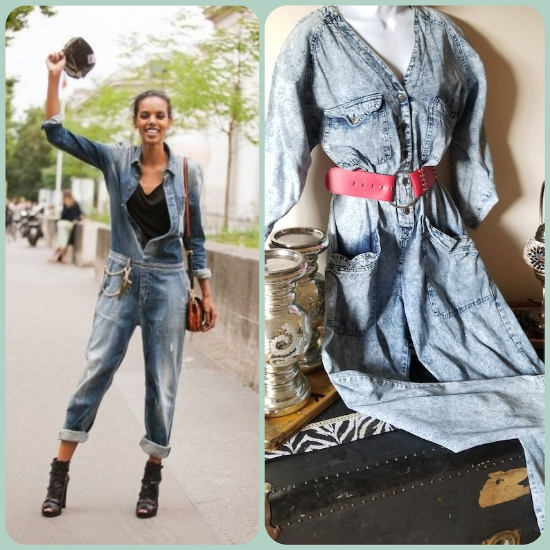 e588d522ceb Vintage 80s acid wash denim jumpsuit overalls flight suit
