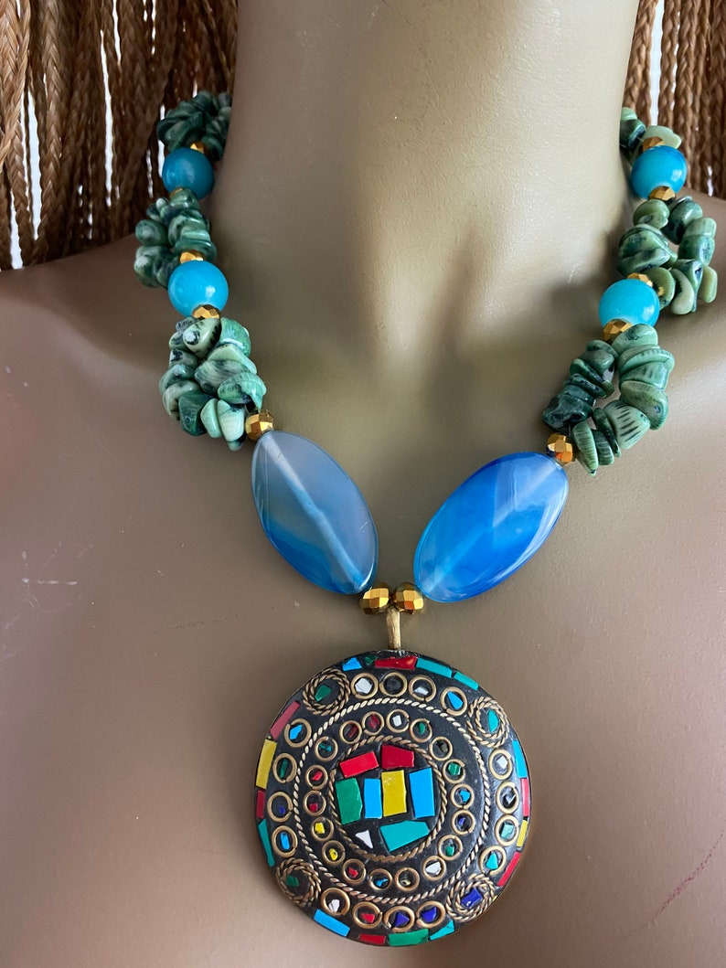 Blue necklace Green necklace Coral necklace Black necklac Red necklace Boho necklace.Bohemian necklace.colorful necklace.Gypsy necklace