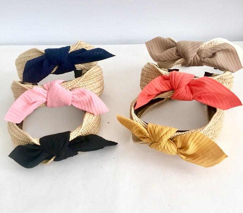 Women complements Raffia headband. Headpieces Headband Tocado de mujer Diadema rafia