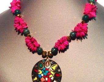 Pink Mandala Necklace
