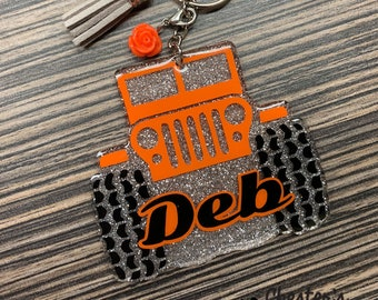 Personalized Jeep Key Chain, Off Road Vehicle Keychain | Silver glitter background