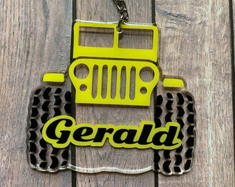 Personalized Jeep Key Chain, Off Road Vehicle Keychain | Clear backgound