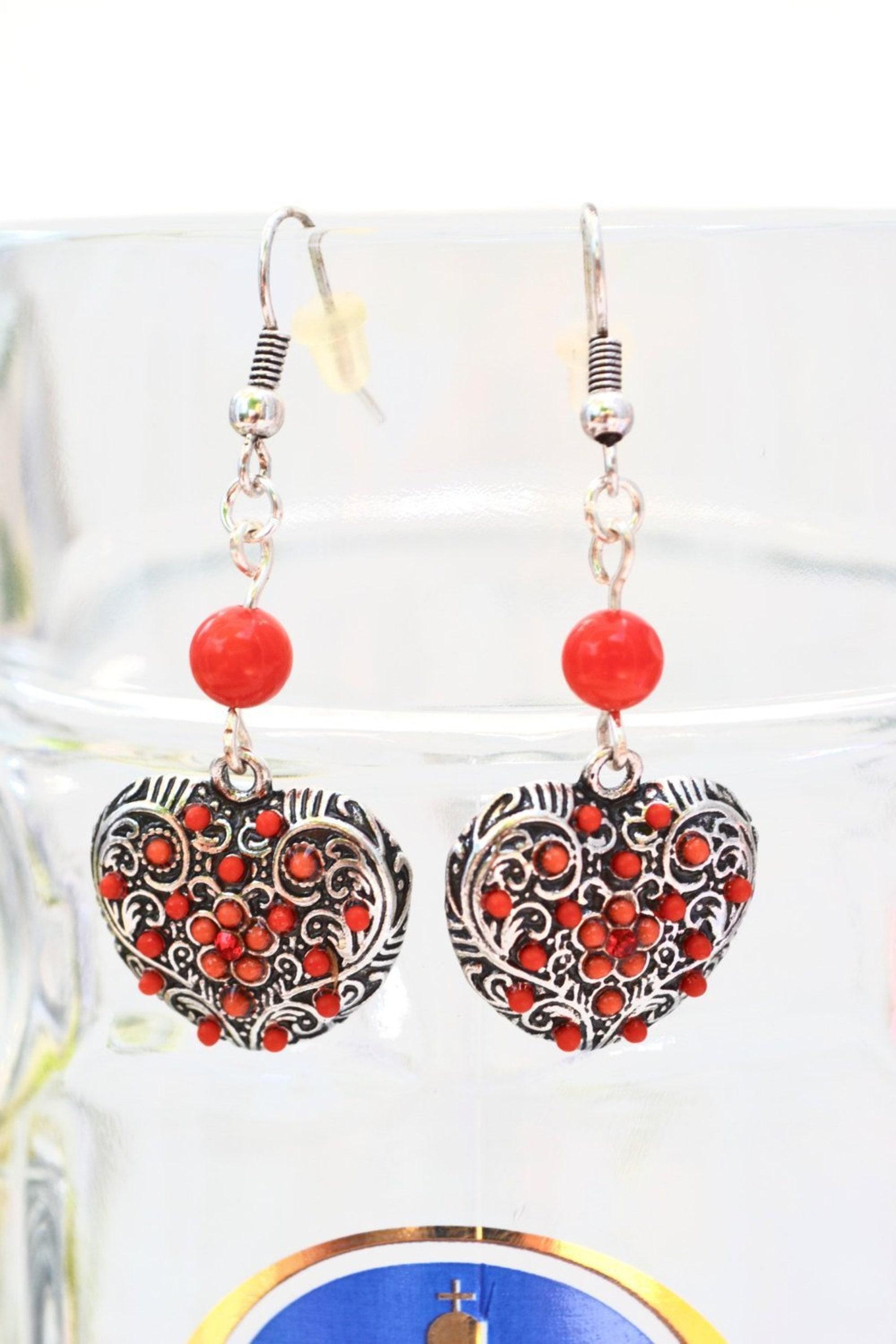 Red Heart Earrings, Oktoberfest Earrings for Dirndl Lovers