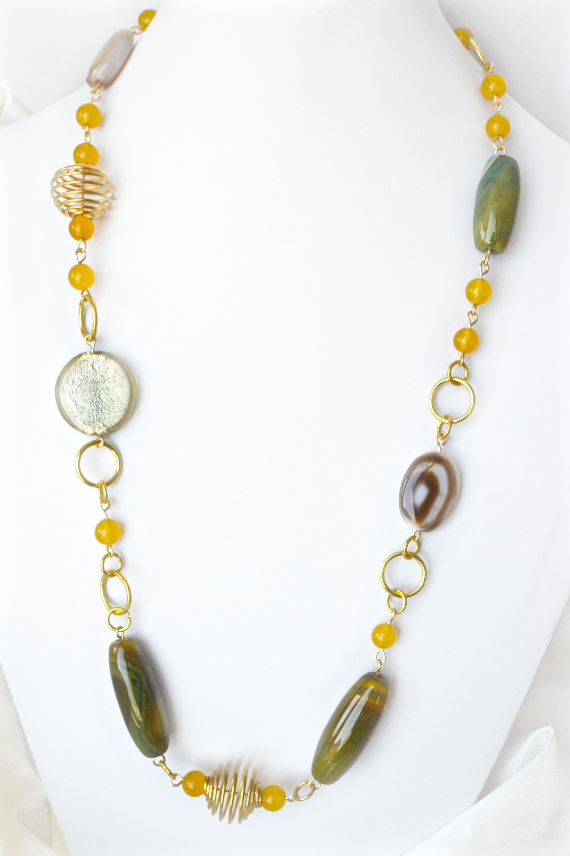 green agate jewelry birthday gift for mom green and purple agate stone beaded necklace and earring set Mothers day gift for grandmother