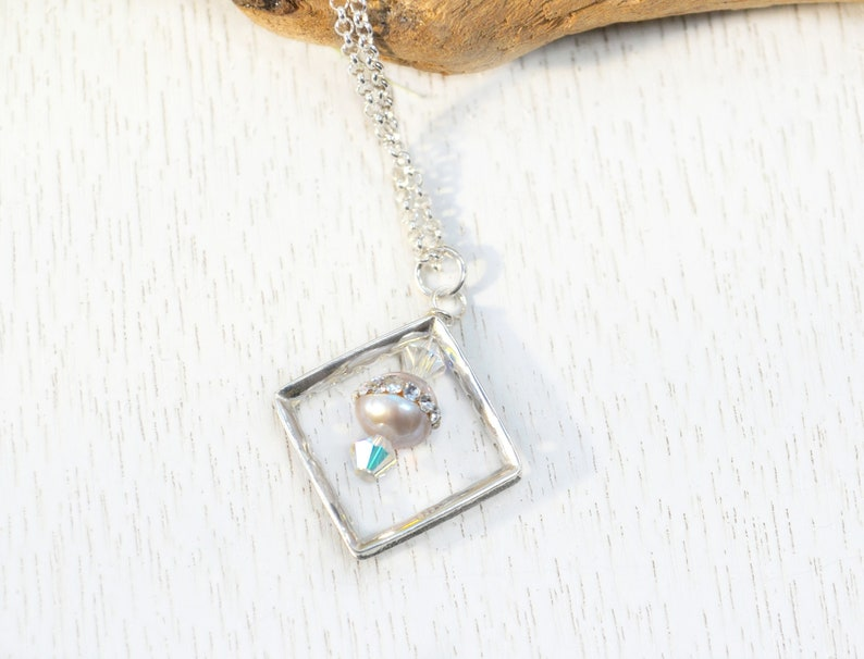 Square Pendant Necklace Sterling Silver Dainty Freshwater Pearl Necklace Bridesmaids Gift June Birthstone Anniversary Gift for Wife