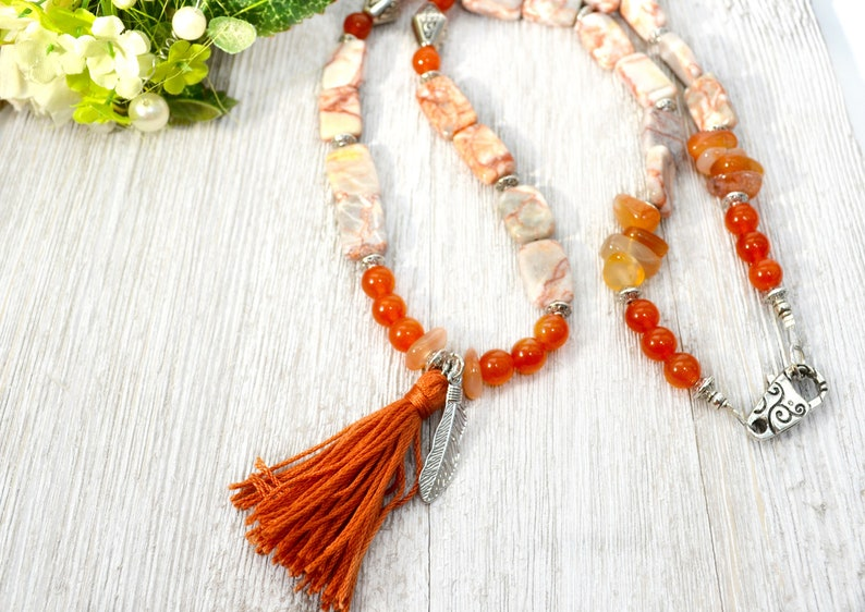 Statement Necklace Burnt Orange Mixed Gemstone Necklace Yoga Inspired Long Boho Necklace with Tassel Mother/'s Day Gift for Bohemian Mom