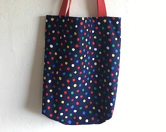 Handmade Navy Blue & Confetti Book Bag