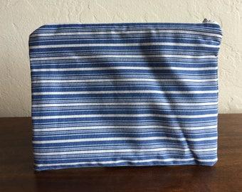 Handmade Light Blue & White Striped Zipper Pouch