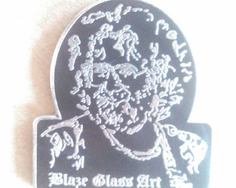 Jerry Garcia Hat Pin by Blaze Glass Art