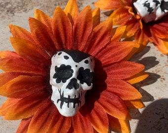 Day of the Dead Flower Hair Clip Sugar Skull Orange