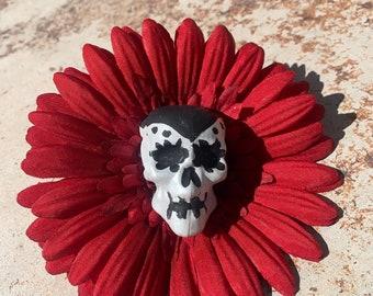Day of the Dead Flower Hair Clip Sugar Skull Red
