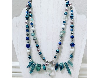 Blue and Silver Mermaid Beachy Double Stranded Beaded Statement Necklace With Aura Crystal