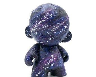 4in Outer Space Cosmos Hand Painted Kidrobot Munny  - Custom Painted Vinyl Designer Toy Figurine, Dunny Graffiti Style, Birthday Gift