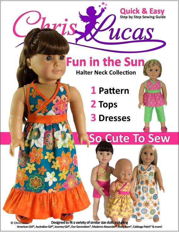 Fun in the Sun Halter Neck PDF Doll Sewing Pattern for 15 | Etsy