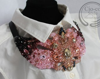 Champagne, pink, purple, black beaded and embroidered necklace
