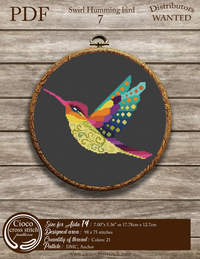 Colorful geometric humming bird by  Ciococrossstitch Colorful swirl humming bird cross stitch
