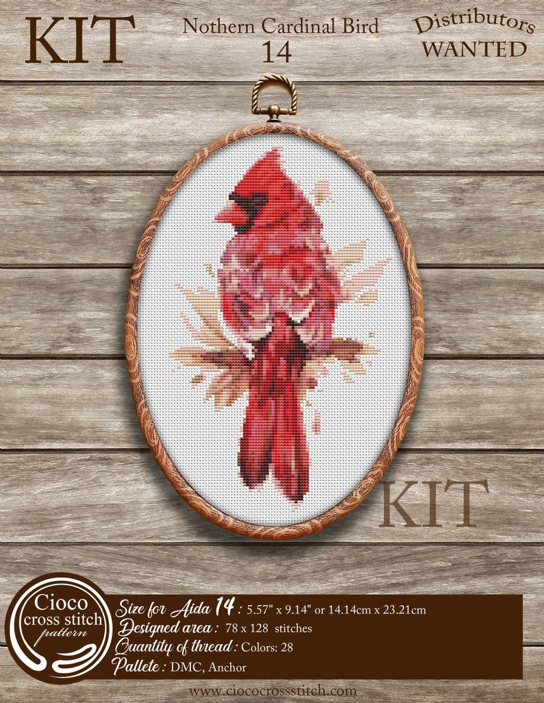 Northern Cardinal bird cross stitch Kit Cardinal Bird Ciococrossstitch Patterns