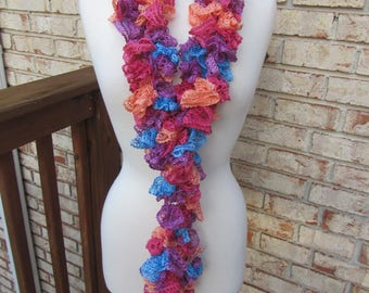 Pink, orange, blue, and purple ruffle scarf