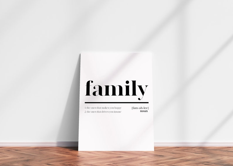 FAMILY DEFINITION PRINT  Home wall art Gift for family image 0