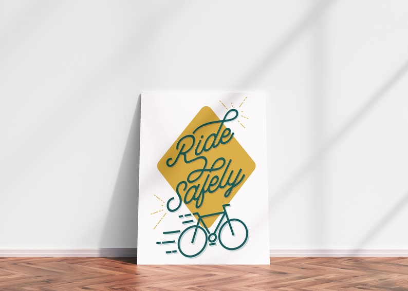Ride Safely Bicycle Art Bicycle Print Bike Poster Wall Art image 0