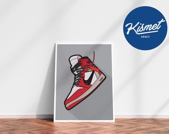 AIR JORDAN 1 OFF-White (Grey Background) - Sneaker Art Digital Print Poster