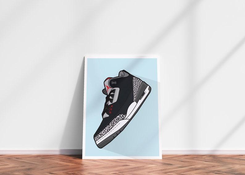 NIKE JORDAN 3 DIGITAL print  Nike wall decor Nike art image 0
