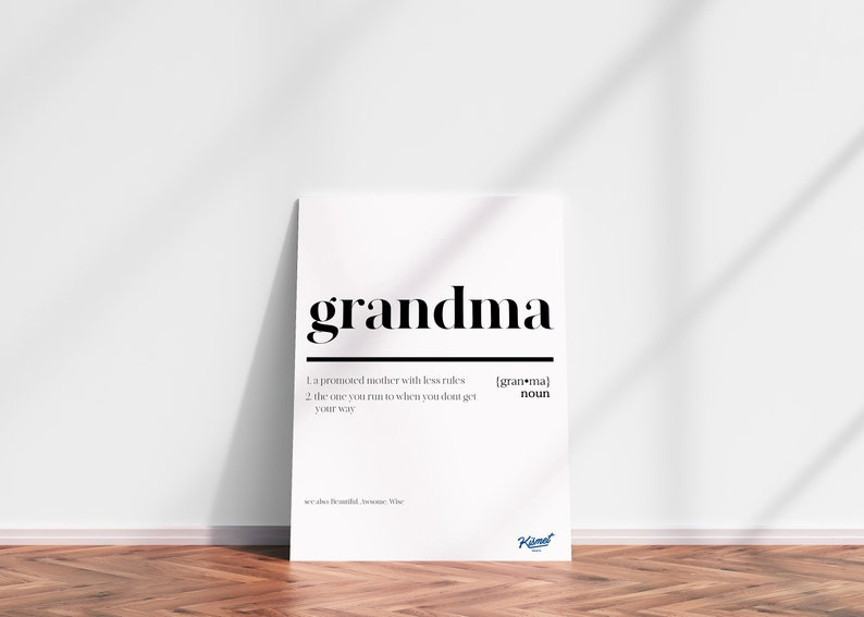 GRANDMA DEFINITION 2  DIGITAL Print Funny Poster Funny Wall image 0