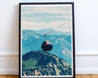 "Cable Car Print - ""Watercolor"" ""Minimalist"""