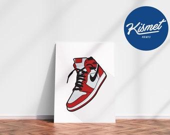 AIR JORDAN 1 CHICAGO (White Background) - Sneaker Art Digital Print Poster