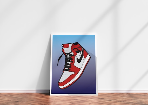 Jordan Retro 11 Bred Poster//Print Sneakers Sneakerhead streetwear decor