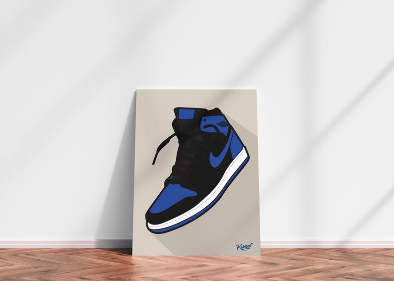 JORDAN 1 Royal DIGITAL PRINT  Sneaker art Jordan art Nike image 0