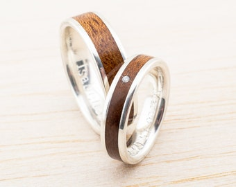 Verlobungsring Mit Holz Inlay Trauring Weissgold Silber Gold Etsy