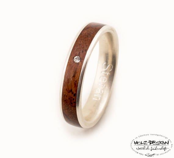 Verlobungsring Mit Holz Inlay Trauring Weissgold Silber Gold Etsy