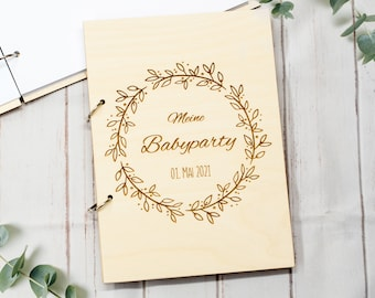 Baby Shower Guestbook, Photobook, Album, Babyparty Gift, Birthday Gift, Wooden Guestbook, personalized Photobook Baby Party
