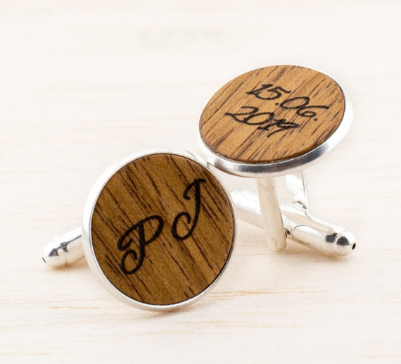 Personalized Wood Cuff 18mm Links Mens Jewelry Groom Cufflinks Etsy