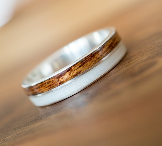 Holz Ring 925 Silber Verlobungsring Ehering Mit Perlmutt Und Etsy
