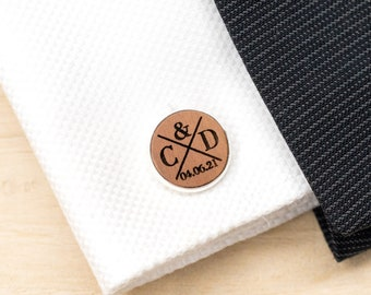 Personalized Wood Cuff Links Mens Jewelry Groom Cufflinks individual rustic country wedding Gift for man Wood handmade Bronze