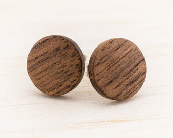 Ø11mm Wooden ear studs wood earrings Fake faux gauge plugs wooden fake piercing illusion small mini customizeable