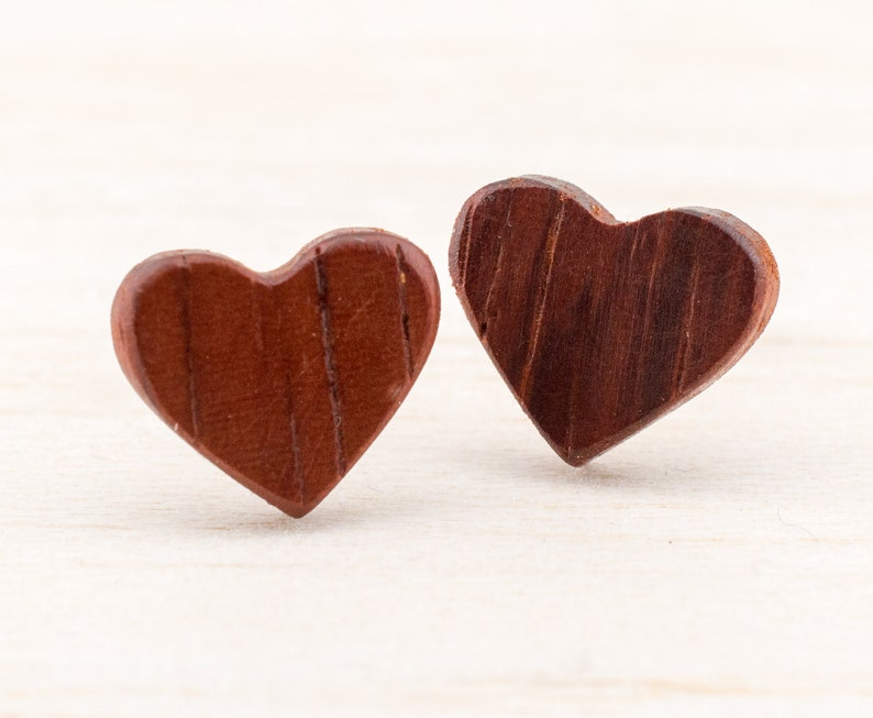 421fb053ccc85 Thin Wooden Heart Ear Stud Earring wooden post studs customizeable illusion  fake plugs natural jewelry