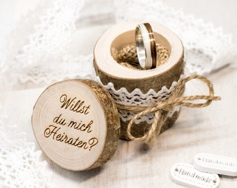 Engagement Ring bearer Box, Wooden Ring Box, Tree branch Ring Bearer, Will you marry me, Rustic Tree Slice, Ring Holder, Personalized Name