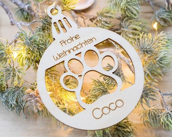 Christmas decoration personalized pet with name, wood Christmas tree ball, Christmas tree ball gift idea for animals, dogs cats