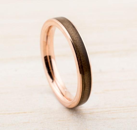 Verlobungsring Holz, Trauring mit Holz Bentwood Ehering, Trauringe Palladium Silber Roségold Weißgold Bugholz Ring aus Holz handgemacht